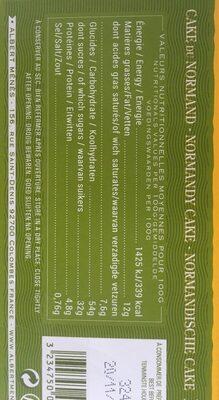Cake du Normand Tranché aux Pommes macérées au Calvados - Informations nutritionnelles - fr