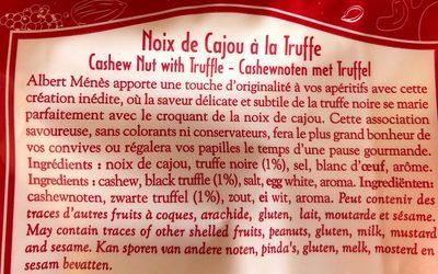 Noix de Cajou à la Truffe - Ingrédients