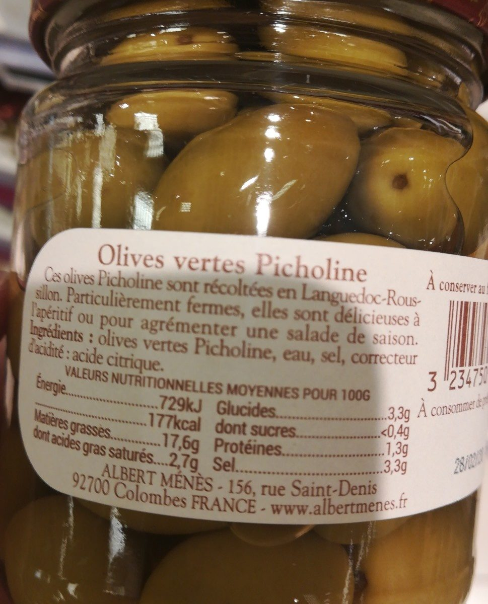 Olives Vertes Picholine - Ingrédients - fr