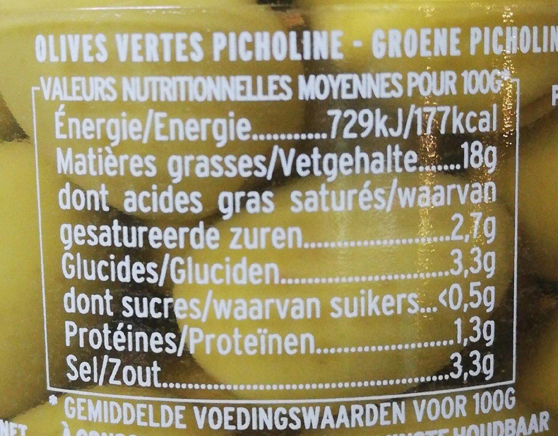 Olives Vertes Picholine - Informations nutritionnelles - fr