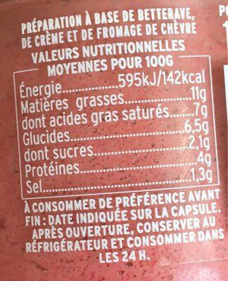 Crème de Betterave au Chèvre et aux Baies Roses - Informations nutritionnelles