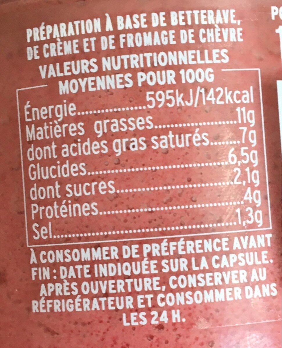 Crème de Betterave au Chèvre et aux Baies Roses - Informations nutritionnelles - fr