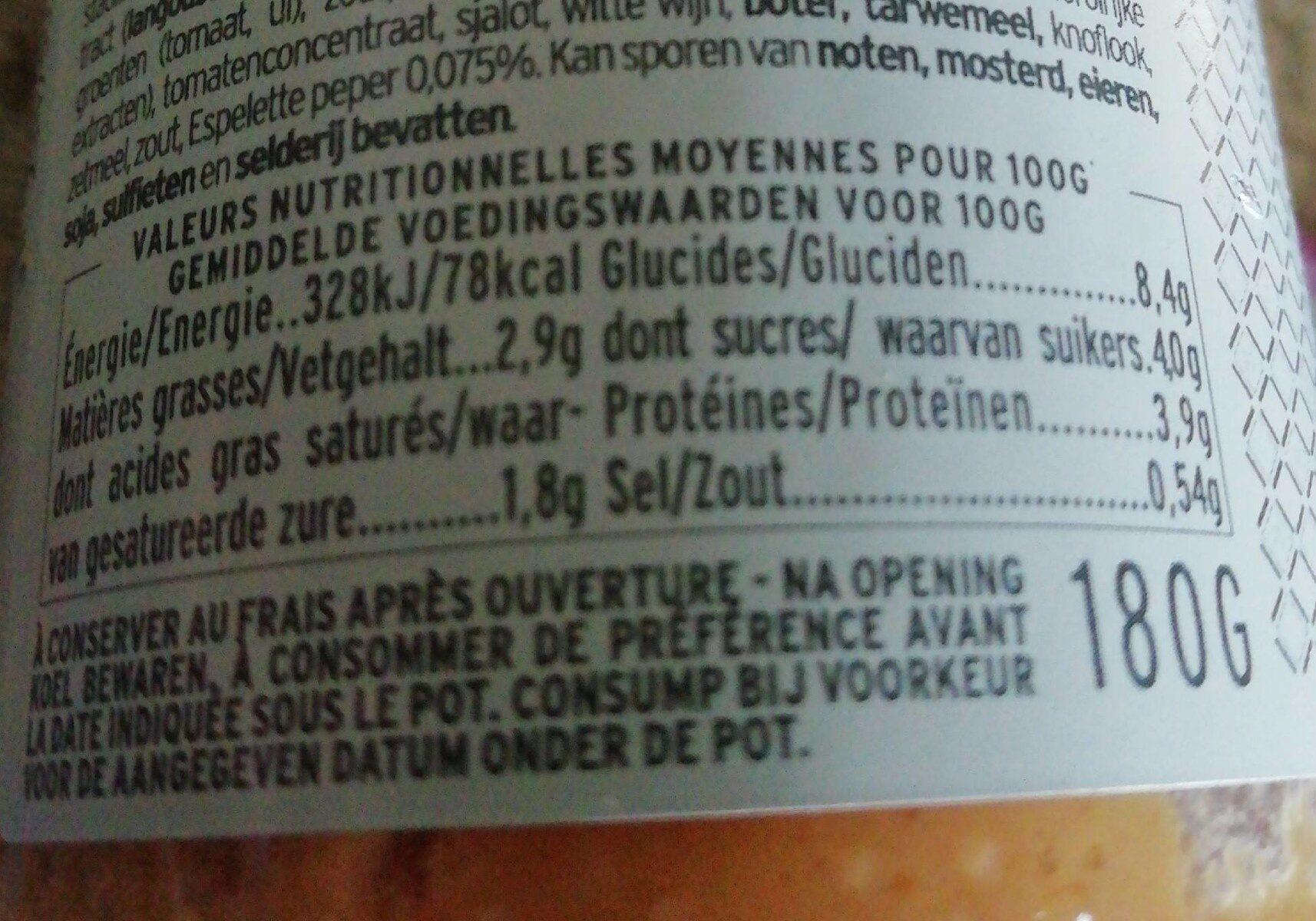 Sauce Sublime aux Crustacés - Informations nutritionnelles - fr
