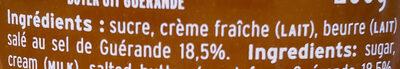 Crème De Caramel Au Beurre Salé Au Sel De Guérande - Ingrédients - fr