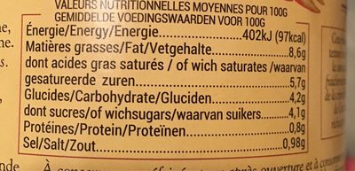 Mousseline Carotte Sel Guérande - Nutrition facts