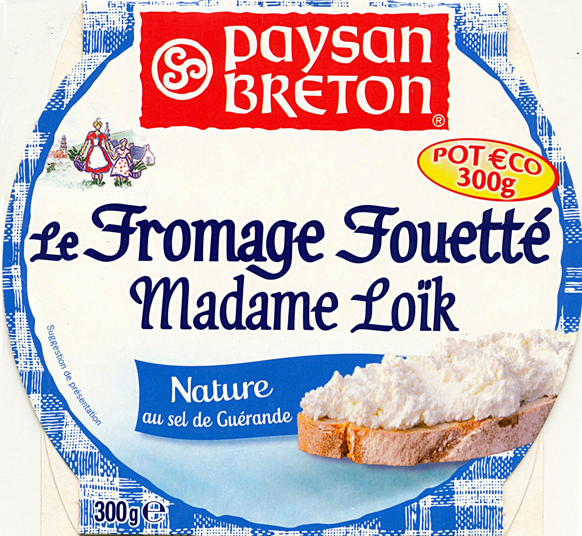 Le Fromage Fouetté Madame Loïk, Nature au sel de Guérande (25 % MG) Pot €co - Produit - fr