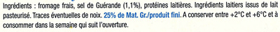Le Fromage Fouetté Madame Loïk, Nature au sel de Guérande (25 % MG) Pot €co - Ingrédients