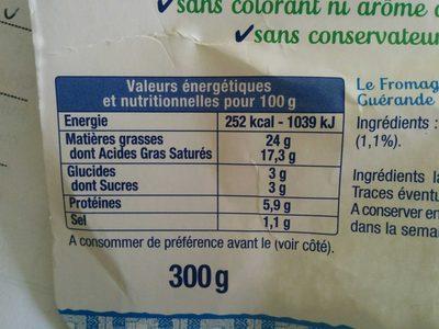 Le Fromage Fouetté Madame Loïk, Nature au sel de Guérande (25 % MG) Pot €co - Informations nutritionnelles - fr