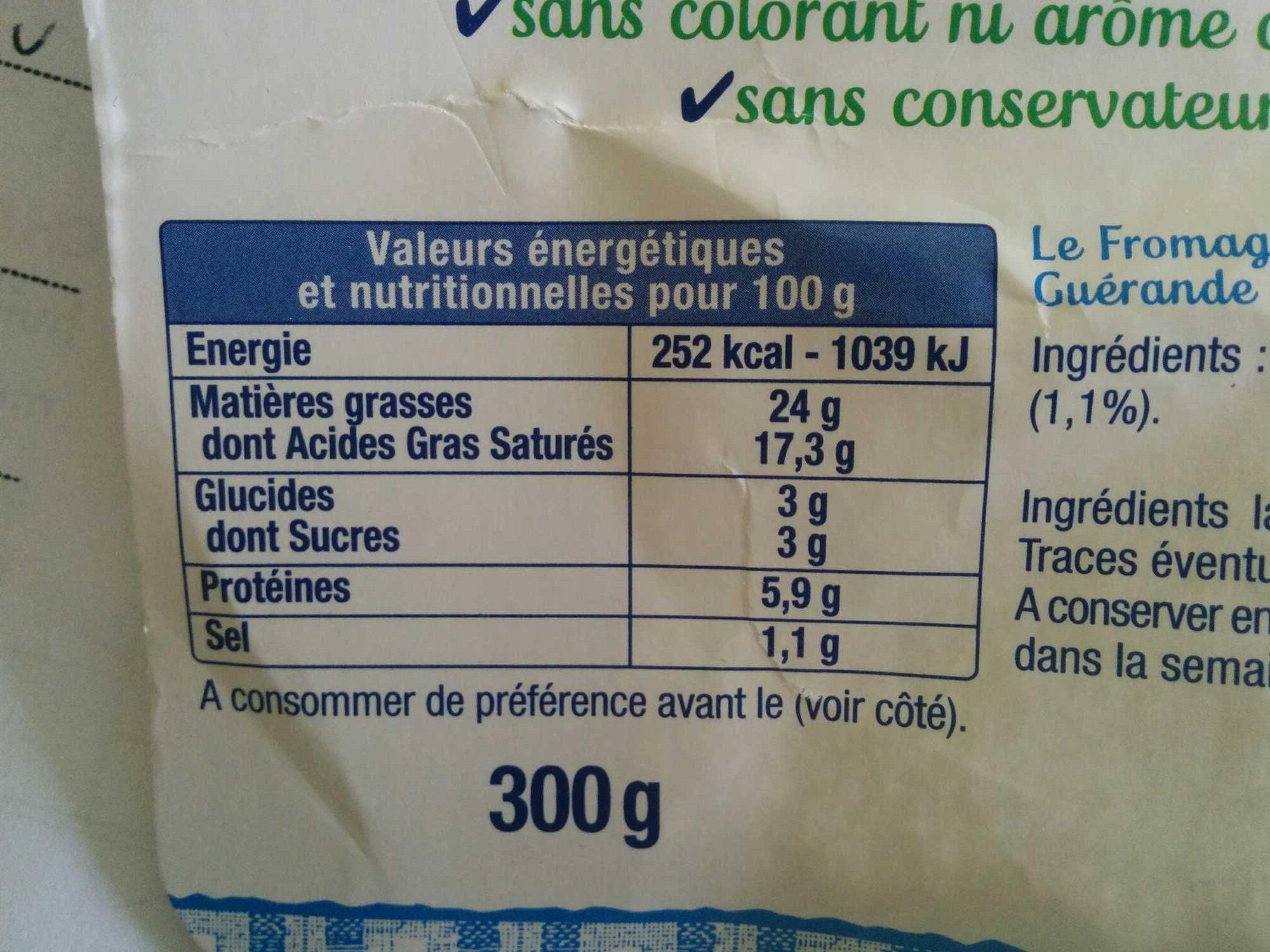 Le Fromage Fouetté Madame Loïk, Nature au sel de Guérande (25 % MG) Pot €co - Informations nutritionnelles