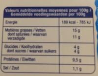 Fromage fouetté nature au sel de Guérande - Informations nutritionnelles - fr