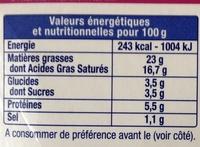 Le Fromage Fouetté Madame Loïk, Échalote Ciboulette - Informations nutritionnelles - fr