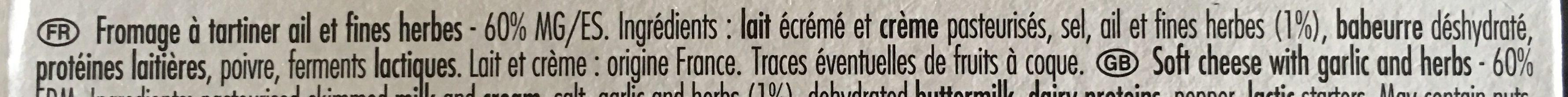 Petit Moulé Ail & Fines herbes - Ingrédients - fr