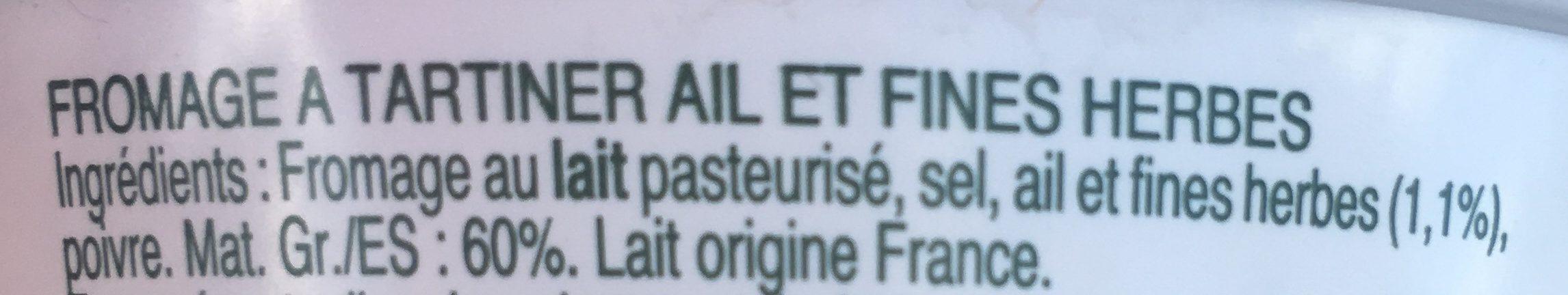 Fromage Ail et Fines Herbes - Ingrédients - fr