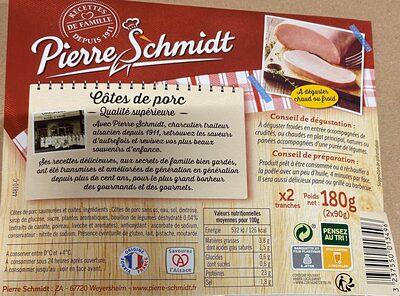 Cotes de porc sans os cuites au bouillon PIERRE SCHMIDT - Ingrédients - fr