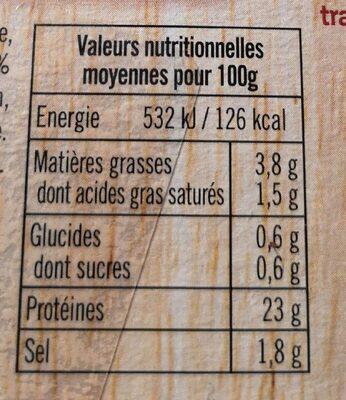 Cotes de porc sans os cuites au bouillon PIERRE SCHMIDT - Informations nutritionnelles - fr