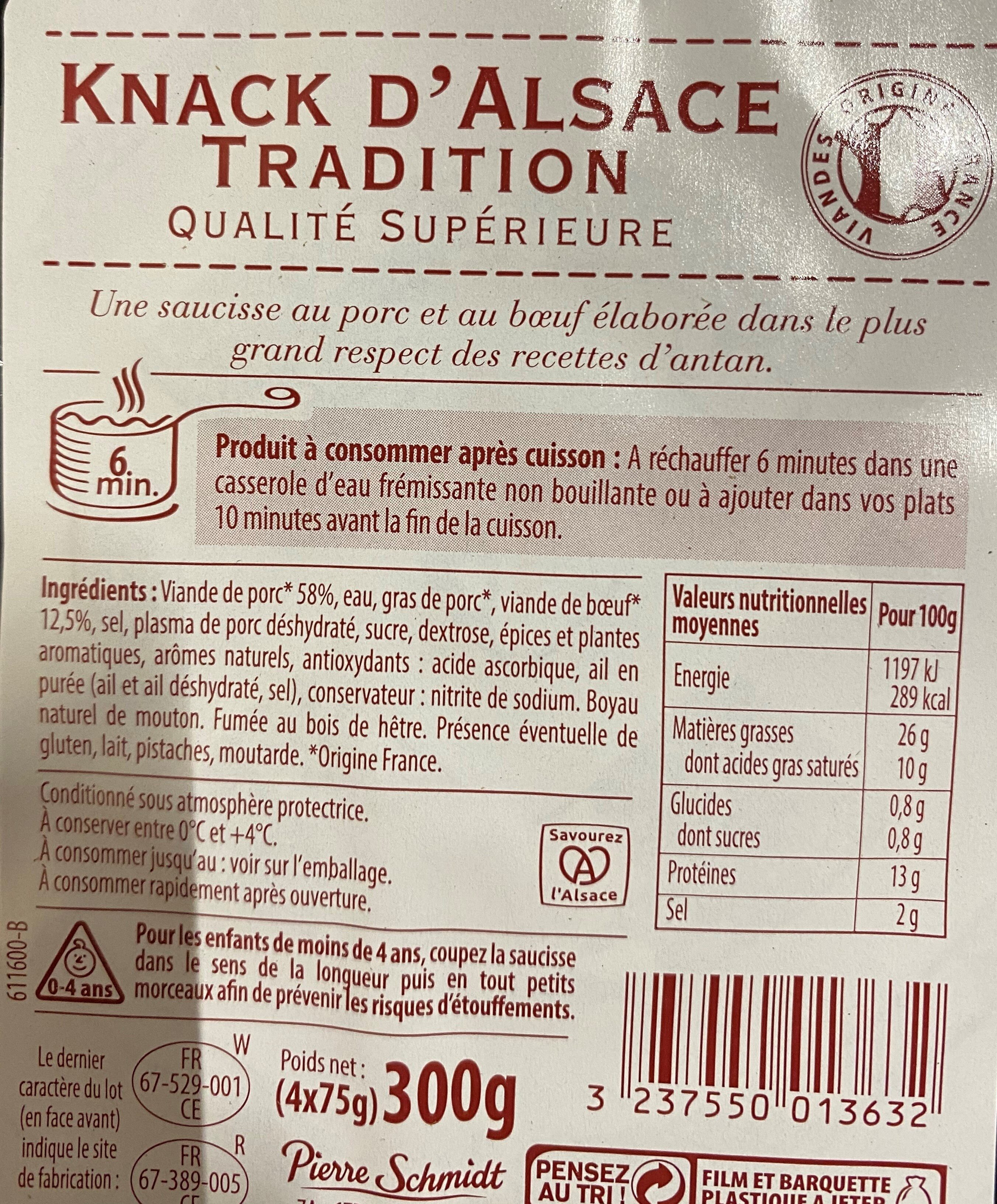 Knack D'Alsace Tradition - Ingredients - fr