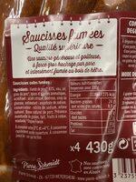 Saucisses fumees d'Alsace, 430 g - Ingrédients - fr