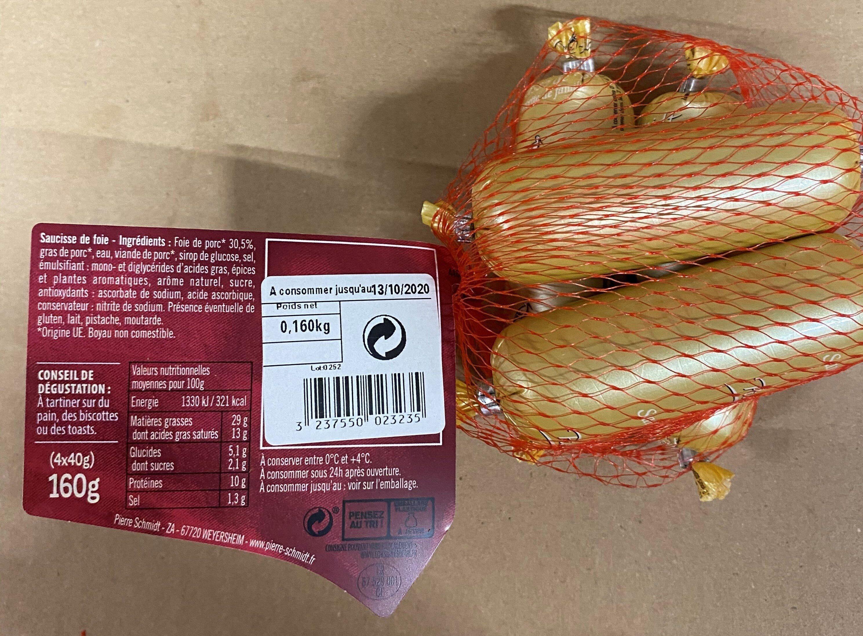 Pierre Schmidt, Mini saucisse de foie, delicieuse specialite alsacienne a tartiner, 4 x - Ingrédients - fr