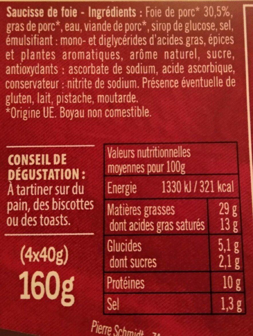Pierre Schmidt, Mini saucisse de foie, delicieuse specialite alsacienne a tartiner, 4 x - Informations nutritionnelles - fr
