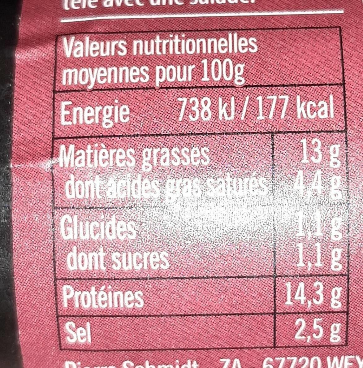 Pierre Schmidt, Saucisse de jambon, piecette, le - Informations nutritionnelles - fr
