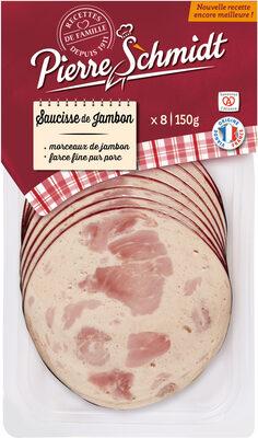 Pierre Schmidt, Saucisse de jambon, les 8 tranches 150 g - Produit - fr
