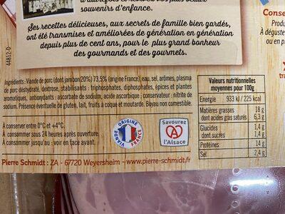 Pierre Schmidt, Saucisse de jambon, les 8 tranches 150 g - Ingrédients - fr