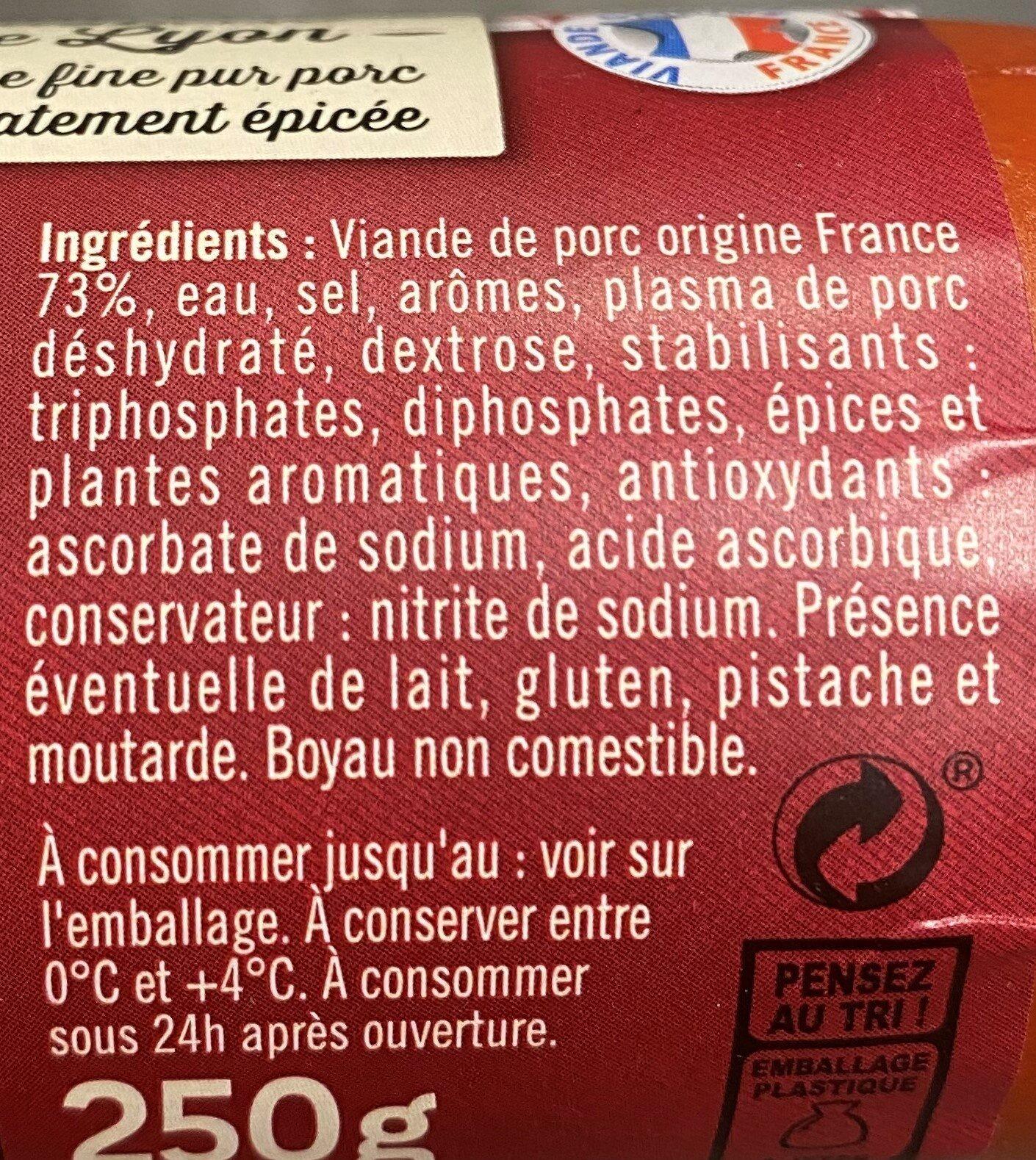 Schmidt saucisse de lyon piecette - Ingrédients - fr