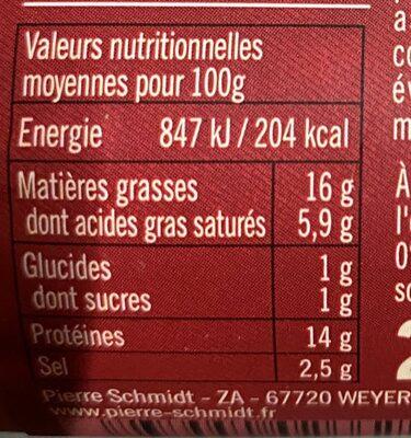 Schmidt saucisse de lyon piecette - Informations nutritionnelles - fr