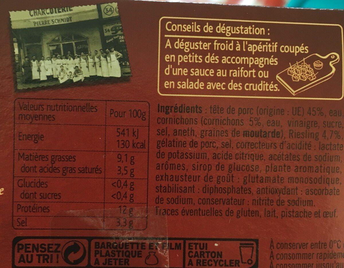 Fromage De Tête Au Riesling, Pierre Schmidt - Ingrédients - fr