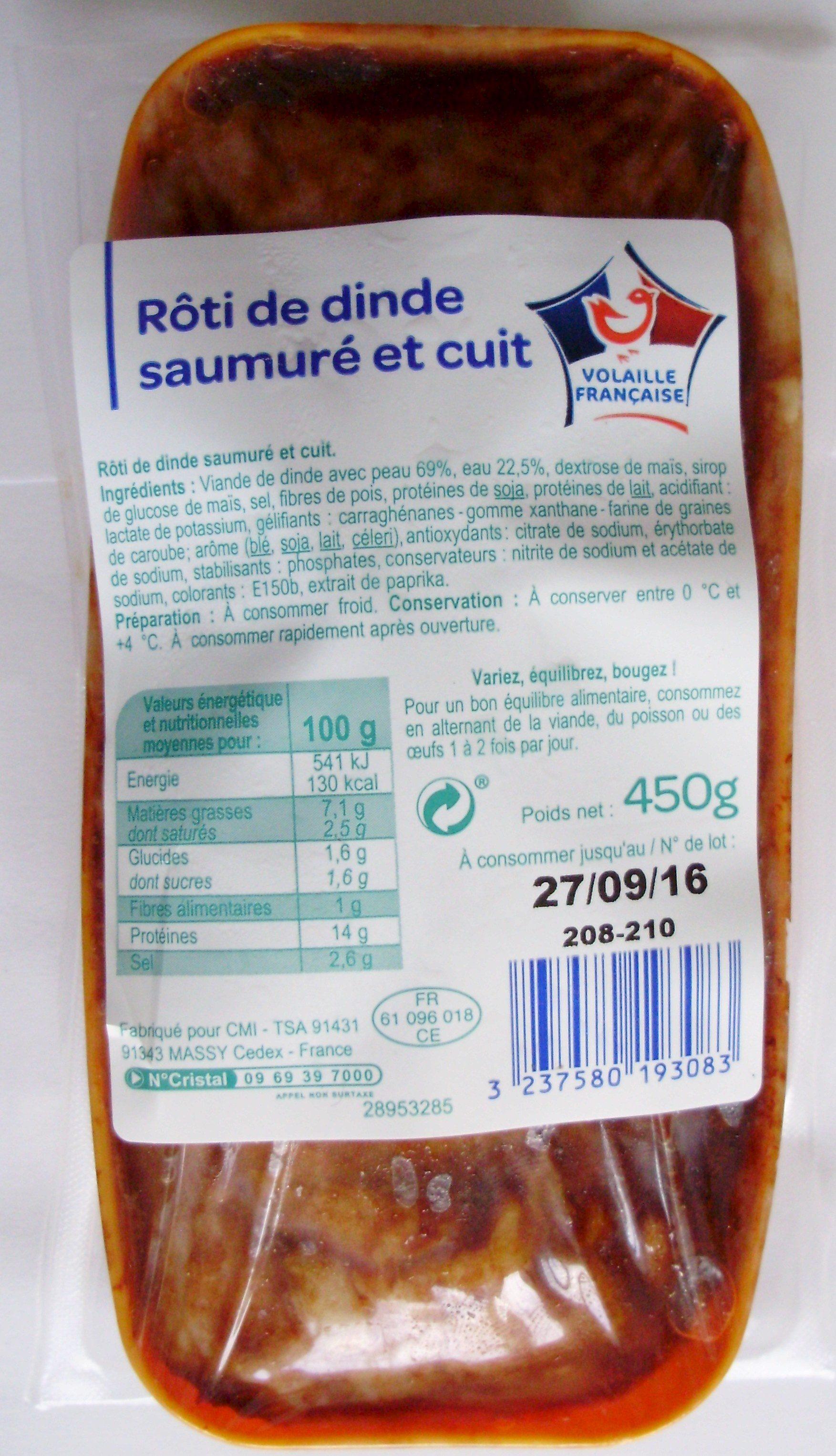 rôti de dinde saumuré et cuit - produits blancs - 450 g