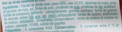 Rôti de dinde saumuré et cuit - Ingrédients - fr