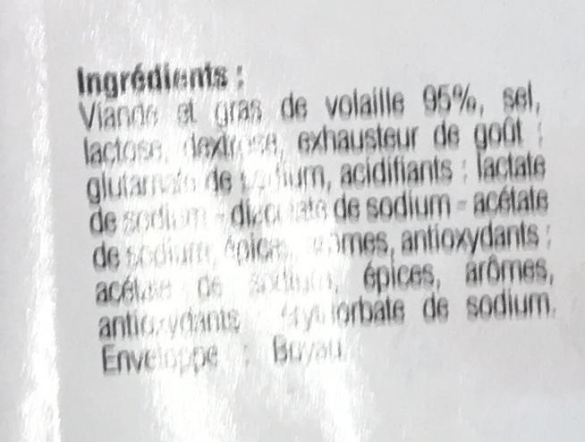 Saucisses de volaille natures - Ingrédients - fr