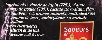 Saucisses de Lapin - Ingredients