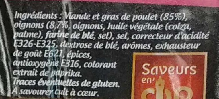 Saucisses de Filet de Poulet aux oignons - Ingrédients