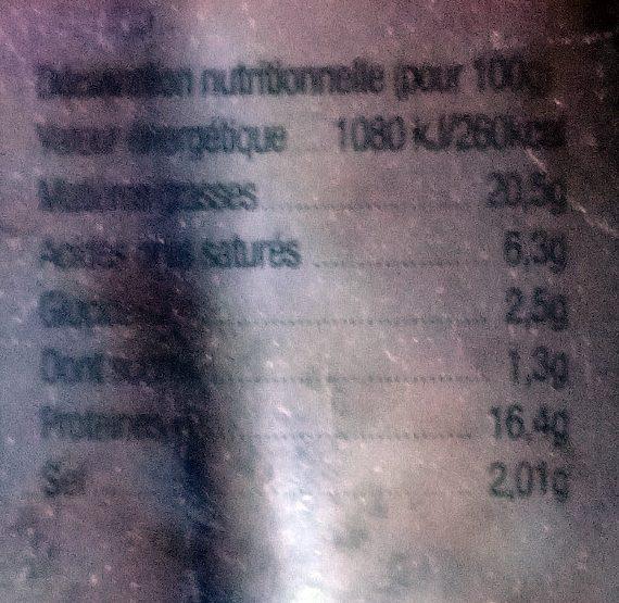 Saucisses de Filet de Poulet aux oignons - Informations nutritionnelles