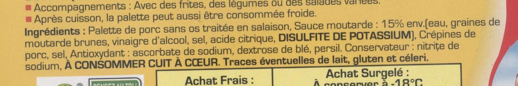 Palette à la diable - Ingredienti - fr