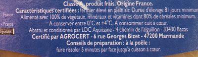 Filets de Poulet Fermier Jaune - Ingredients - fr