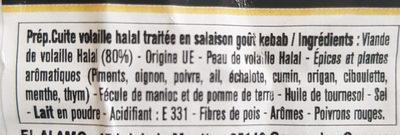 Émincé de lamelle de kebab de volaille HALAL - Ingredients - fr