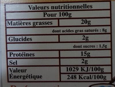 Knacks a l'ancienne - Voedingswaarden - fr