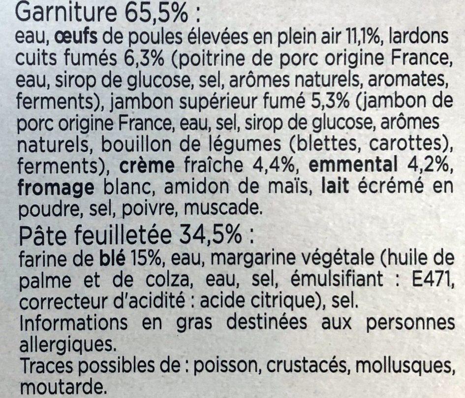 Quiche Lorraine, Lardons et Jambon supérieur fumés - Ingrediënten