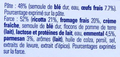 Ravioli 4 Fromages - Ingrédients
