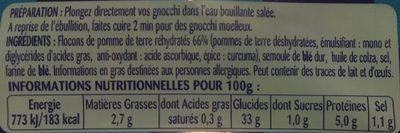 Gnocchi Aux Pommes de terre - Voedingswaarden - fr