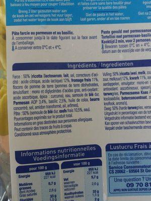 Tortellini Parmesan Basilic - Ingredients - fr
