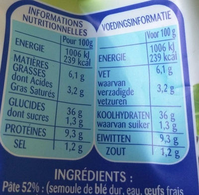 Tortellini Parmesan Basilic - Nutrition facts - fr