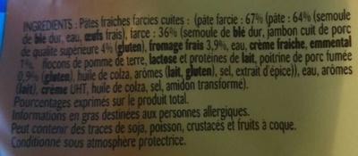 Tortellini à Poêler, Jambon Emmental - Ingrédients - fr