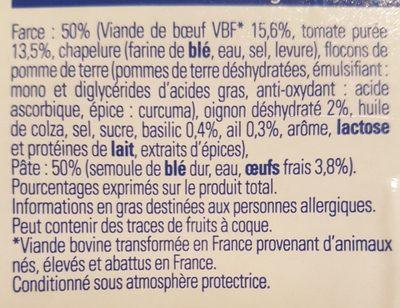Ravioli de bœuf à la bolognaise - Ingredients