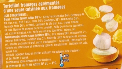 Tortellini 4 Fromages, LunchBox - Ingredients