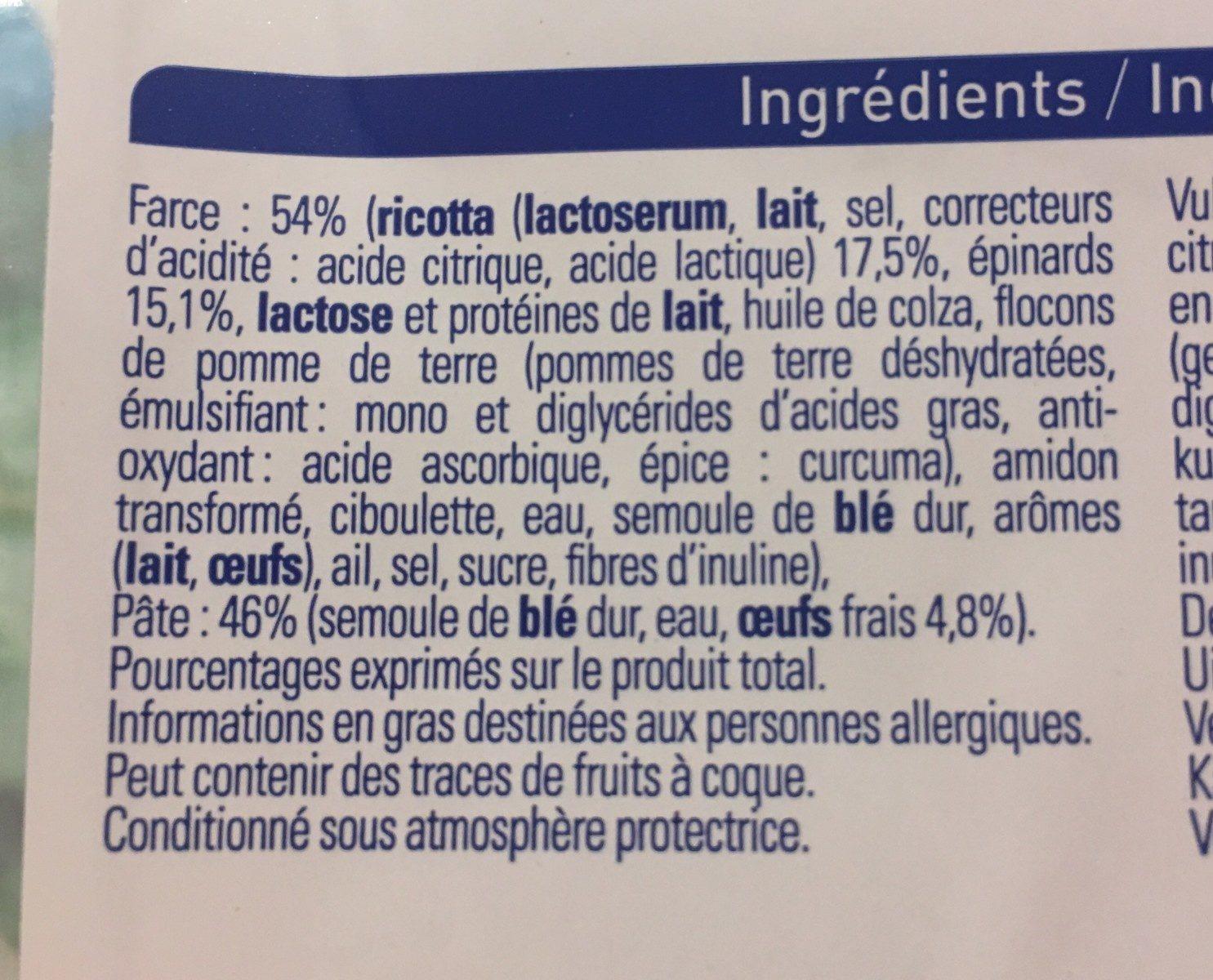 Demi lune - Ricottar Épinardtfrv grf - Ingredients