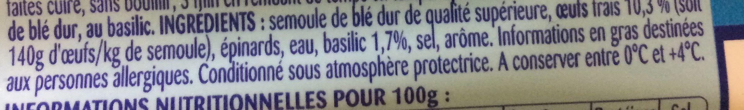 Lustucru Selection Lot de 2 tagliatelles au basilic - Ingredients