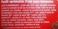 Fusilli Bolognaise, LunchBox (+ 10 % Gratuit) - Ingrédients